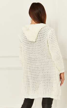 Hooded Chunky Knit Cardigan in Cream by Bella and Blue