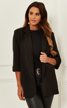 Blazer With 3/4 Sleeve In Black by Bella and Blue Product photo