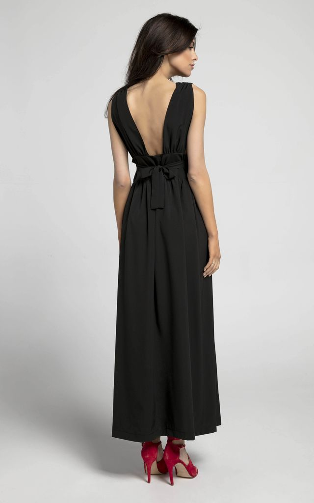 Plunge Maxi Dress with Slit in Black by By Ooh La La
