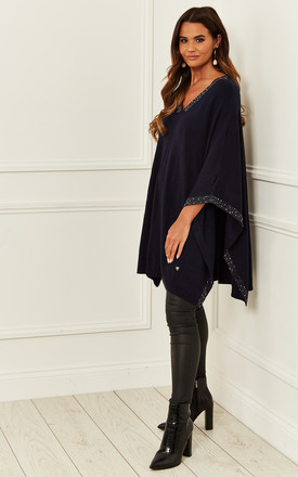 Poncho With Sequin Detail In Navy by Bella and Blue Product photo