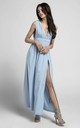 Plunge Maxi Dress with Slit in Blue by By Ooh La La