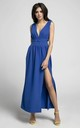 Plunge Maxi Dress with Slit in Royal Blue by By Ooh La La