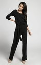 Black Relaxed Fit Jumpsuit with Waist Tie by By Ooh La La