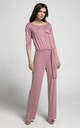 Pink Relaxed Fit Jumpsuit with Waist Tie by By Ooh La La