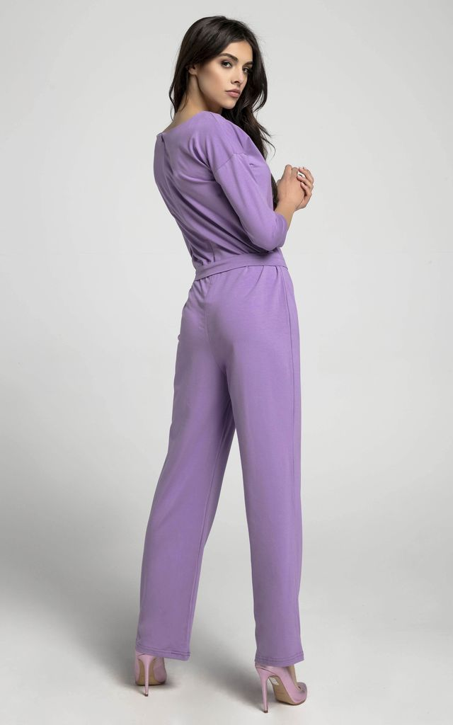 Violet Relaxed Fit Jumpsuit with Waist Tie by By Ooh La La