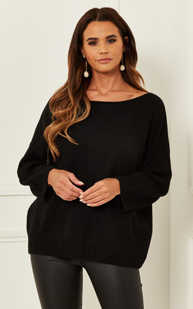 Crew Neck Jumper With Ribbed Hem In Black by Bella and Blue Product photo