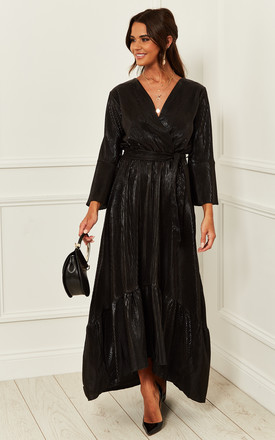 Exclusive Crepe Plunge Maxi Wrap Dress In Black by Bella and Blue Product photo