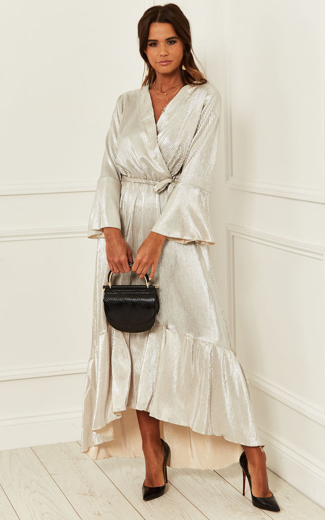 Exclusive Crepe Plunge Maxi Wrap Dress in Gold by Bella and Blue