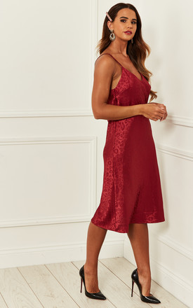Jacquard Leopard Cami Midi Dress in BURGUNDY by Bella and Blue
