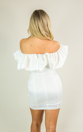 My Candi Satin Ruffle Mini Dress in White by My Little Wardrobe