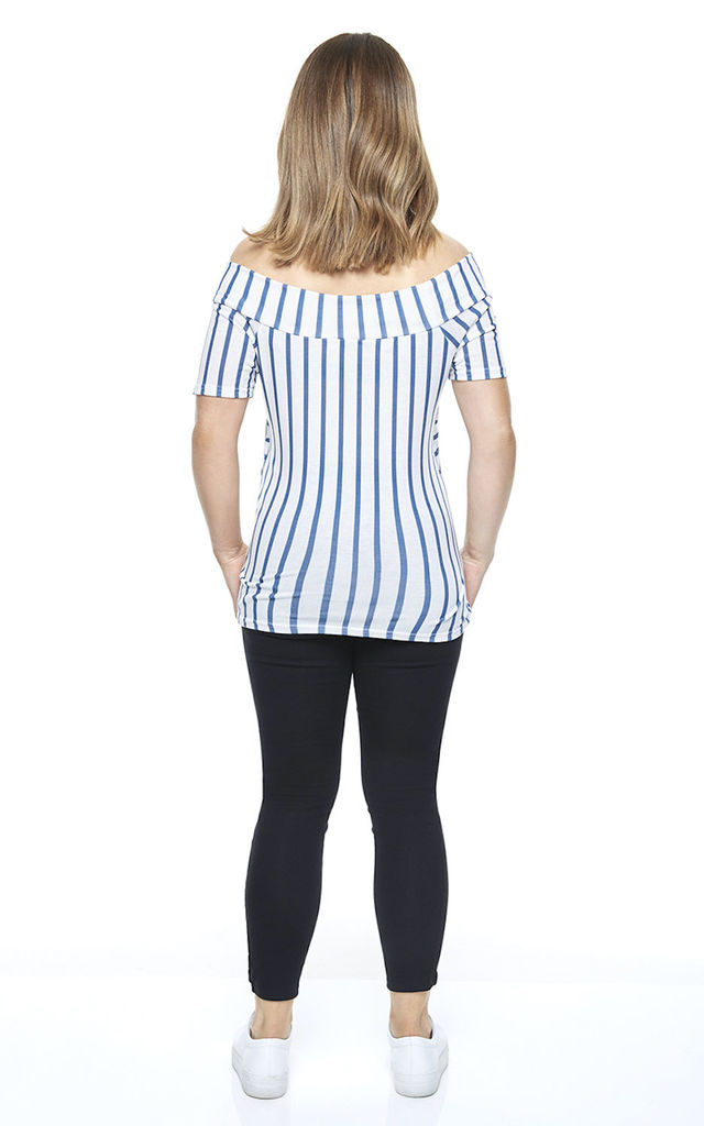 Maternity Bardot Top in Blue Stripe by Want That Trend Maternity