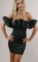 My Candi Satin Ruffle Mini Dress in Black by My Little Wardrobe