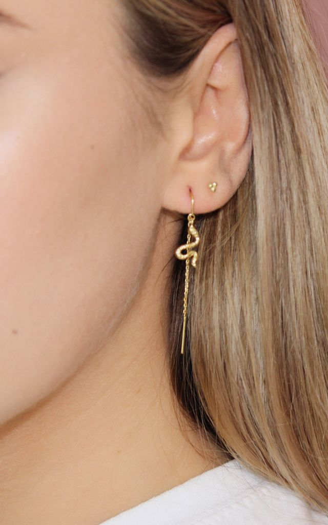 Gold Drop Threader Earrings with Snake Serpents by Lucky Eleven