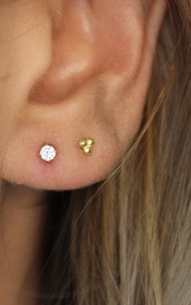 9ct Gold Filled Crystal Stud Earrings by Lucky Eleven