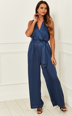 Silky Wrap Over Jumpsuit With Tie Waist In Blue by Bella and Blue Product photo