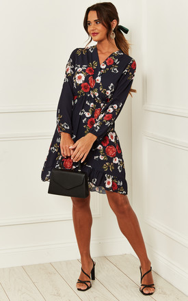 Floral Print Wrap Dress In Navy by Bella and Blue Product photo