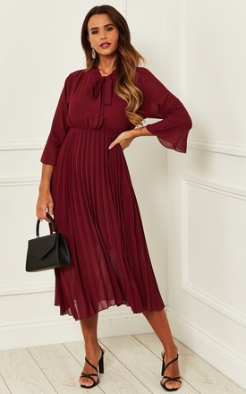 Pussy Bow Pleated Midi Dress Burgundy by Bella and Blue Product photo