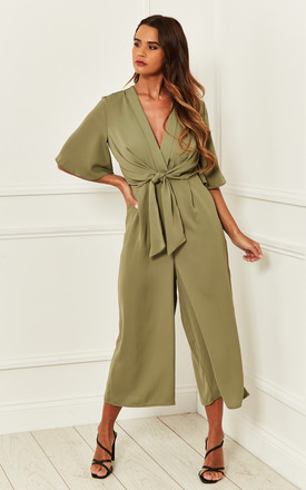 Exclusive Kimono Knot Top Culotte Jumpsuit In Khaki Green by Bella and Blue Product photo