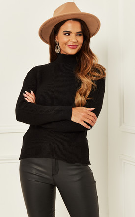 High Neck Fine Knit Jumper In Black by Bella and Blue Product photo