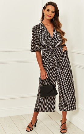 Exclusive Kimono Knot Top Culotte Jumpsuit In Geometric Print by Bella and Blue Product photo