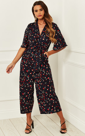 Exclusive Kimono Knot Top Culotte Jumpsuit In Navy Leopard Print by Bella and Blue Product photo