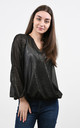 Chiffon Wrap Blouse with Long Sleeves in Black Zebra Print by Lucy Sparks