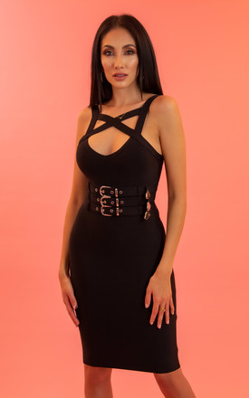 My Jagger Belted Bandage Dress in Black by My Little Wardrobe