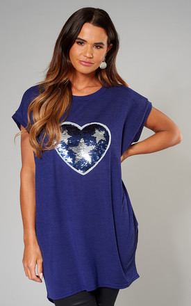 Exclusive Lynda Star Heart Sequin Top In Navy by Blue Vanilla Product photo