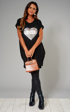 Exclusive Lynda Heart Leopard Love Sequin Top In Black by Blue Vanilla Product photo