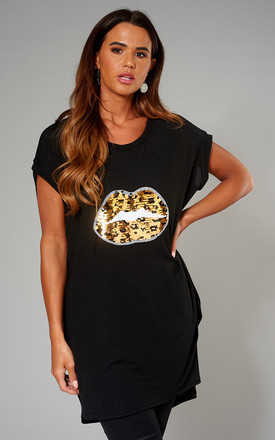 Exclusive Lynda Leopard Lips Sequin Top In Black by Blue Vanilla Product photo