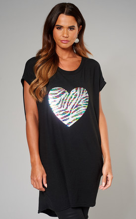 Exclusive Lynda Silver Heart Mix Sequin Top In Black by Blue Vanilla Product photo