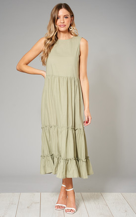 Kristina Tiered Crinkle Smock Dress In Green by Blue Vanilla Product photo
