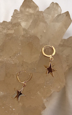 Star drop earrings with mini hoop in gold by DOSE of ROSE