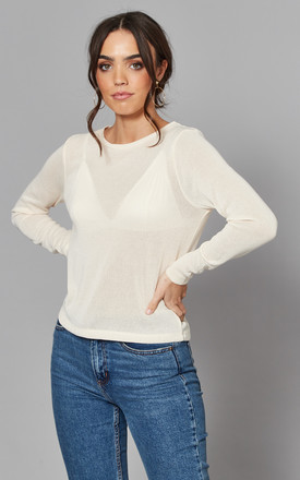 Round Neck Fine Knit Top In Cream by Noisy May Product photo
