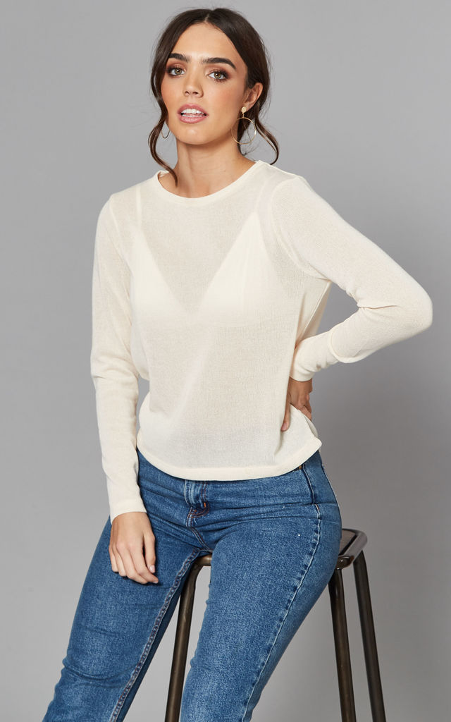 Round Neck Fine Knit Top in Cream by Noisy May