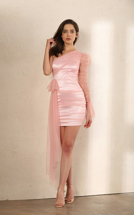 One Shoulder Sheer Mesh Ruched Mini Dress In Pink by Miss Floral Product photo