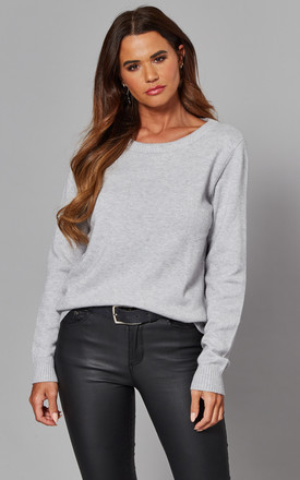 Knitted Top With Round Neck In Light Grey by VILA Product photo