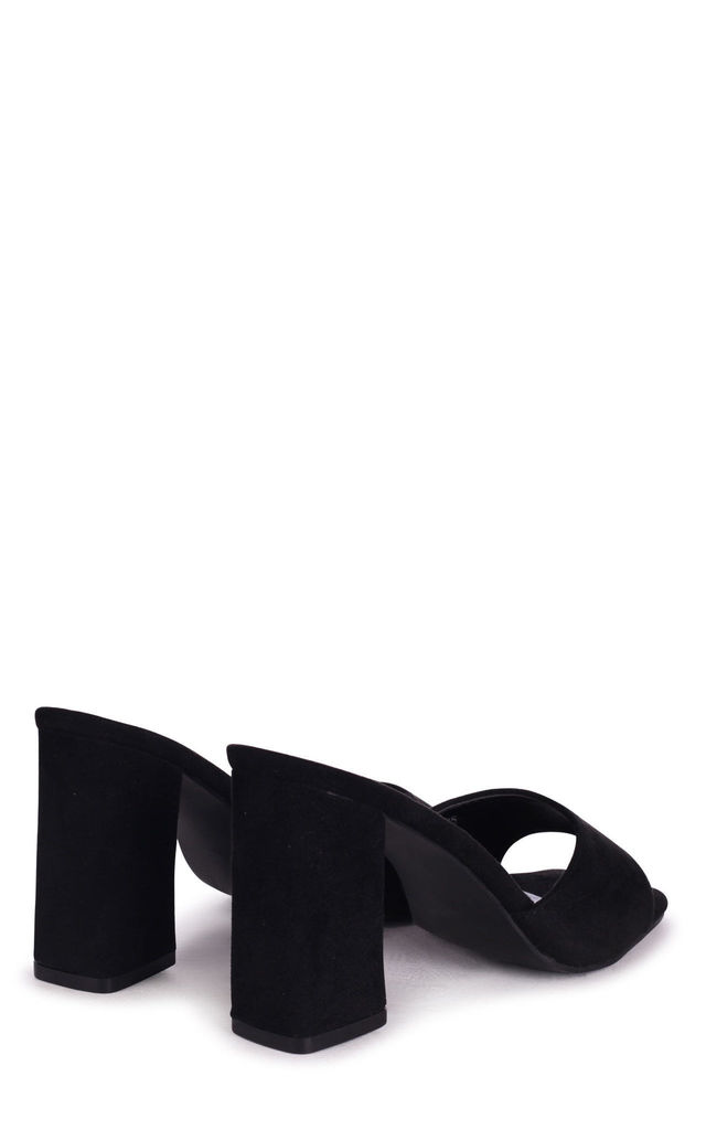 Brixton Black Suede Block Heeled Mules by Linzi