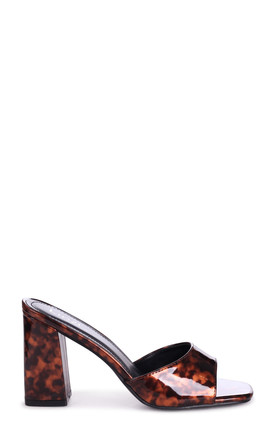 Brixton Block Heeled Mules in Tortoiseshell Patent Leather by Linzi