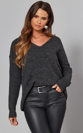 Ribbed V Neck Jumper In Dark Grey by VM Product photo