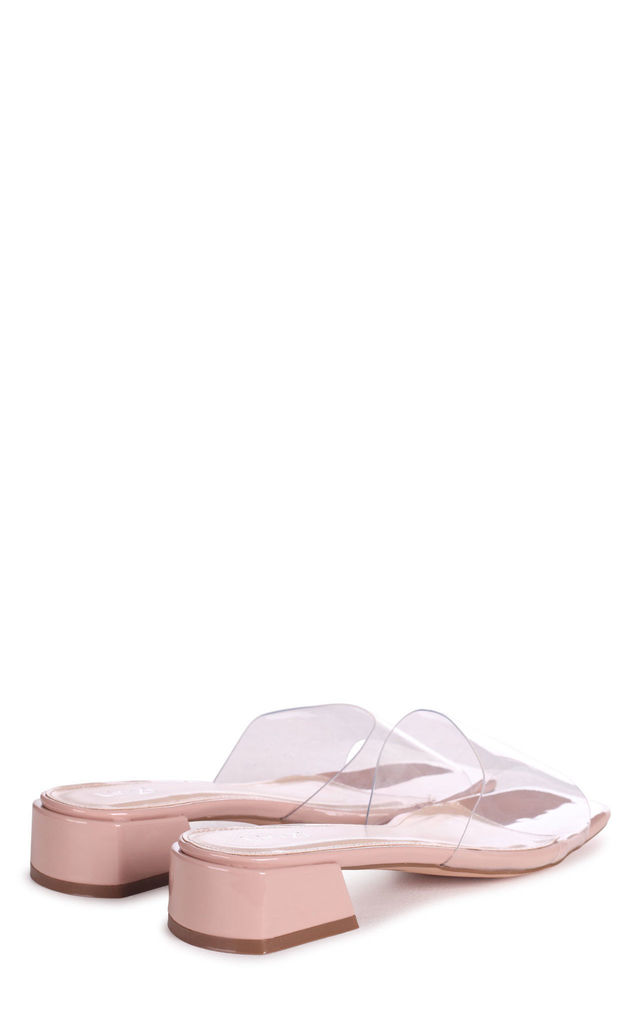 Leyla Nude Patent Slip On Sliders With Perspex Front Strap And Small Heel by Linzi