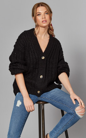 Chunky Knit Cardigan In Black by Noisy May Product photo