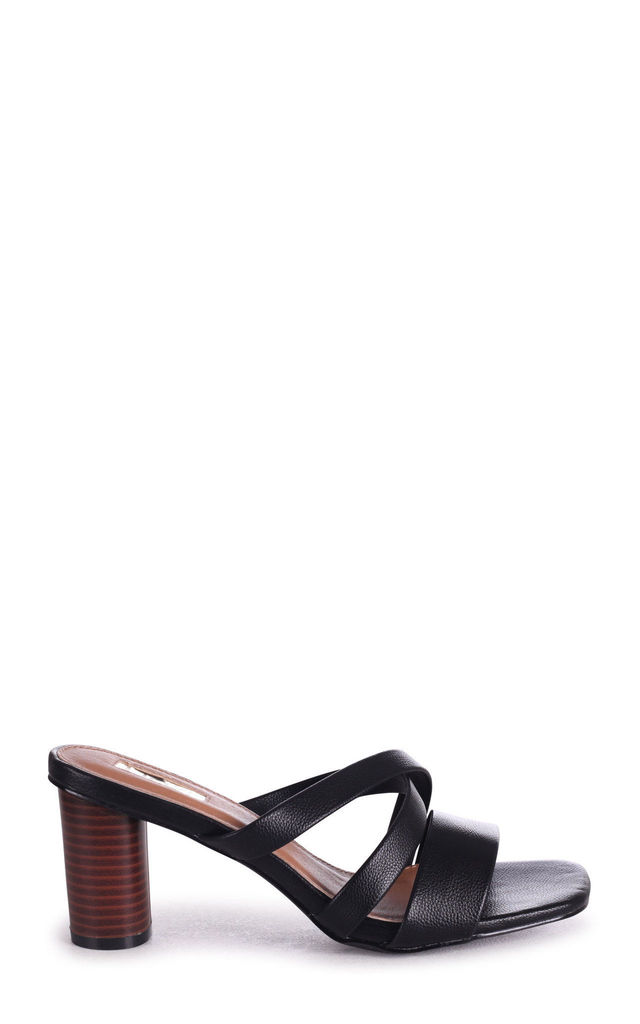 Sorry Not Sorry Black Slip On Mules With Multiple Front Straps & Stacked Cylinder Heel by Linzi
