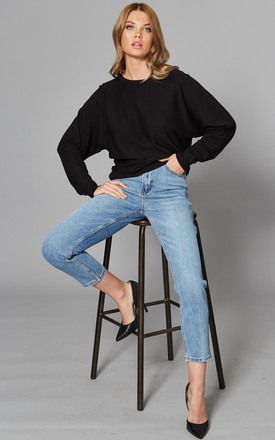 High Waisted Straight Leg Jeans In Medium Blue by ONLY Product photo
