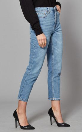 High Waisted Straight Leg Jeans in Medium Blue by ONLY