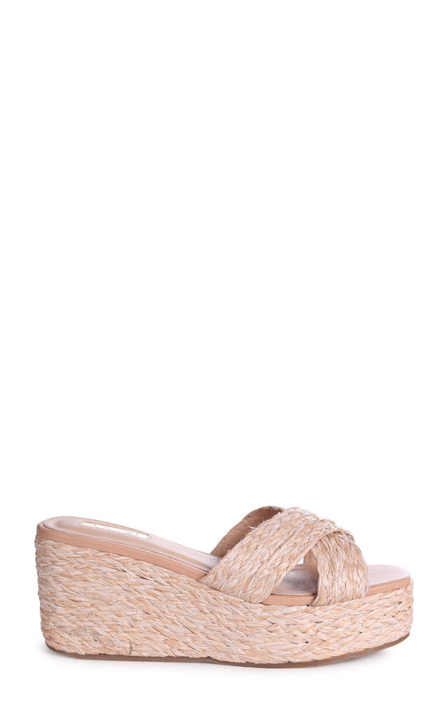 Portia Raffia Slip On Mule Wedges With Crossover Front Strap by Linzi