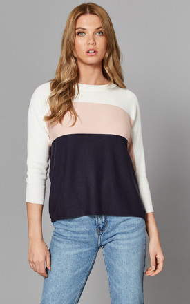 Colour Block Jumper In White, Pink And Navy by ONLY Product photo