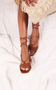 Cross My Heart Tan Nappa Lace Up Sandals With Block Heels by Linzi