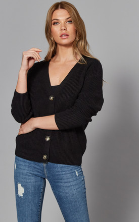 V Neck Button Cardigan In Black by Pieces Product photo