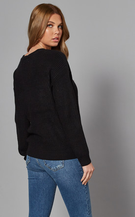 V Neck Button Cardigan in Black by Pieces